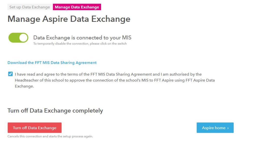 Manage Aspire Data Exchange